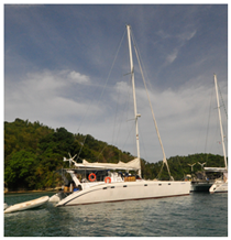 Our sailingcatamaran on Apo Reef